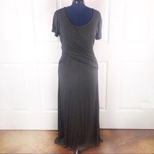 Torrid 2(X-18/20) grey ruched stretch maxi dress